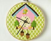 Cuckoo Clock - appliqué on olive green polka dots embroidery hoop nursery kids children pink bird handmade clock wall clock pastel