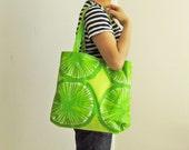 Marimekko tote bag, lime green, laminated tote bag, citrus pattern, PVC-coated beach bag, modern geometric, Scandinavian large tote