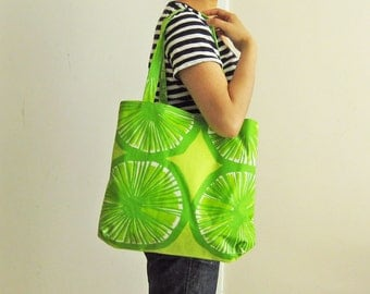 Marimekko tote bag, lime green, laminated tote bag, citrus pattern, PVC-coated beach bag, modern geometric, Scandinavian large tote