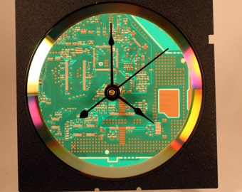 Computer Circuit Board Desk Clock (Bright Green)