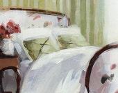 Art Print Bedroom Floral Boudoir - Green Stripes by David Lloyd