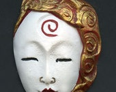 Polymer One Of A Kind White with Red and Gold Undrilled  Asian Face Cab WTAC 1