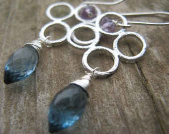 Sale - London blue quartz and amethyst on silver bubbles - dangle earrings