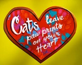 CATS Leave Paw Prints,Heart shaped Magnet