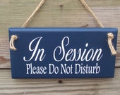 Nautical Cottage Style In Session Please Do Not Disturb Wood Vinyl Sign Jute Cord Business Office Supply Quiet Private Door Hanger Plaque