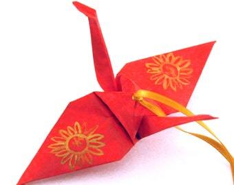 Gold Sunflower on Red Origami Crane Ornament, Handpainted Home Decor