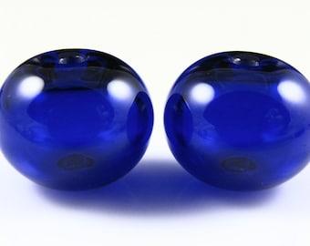 Cobalt Blue Transparent Hollow Lampwork Glass Bead Pairs