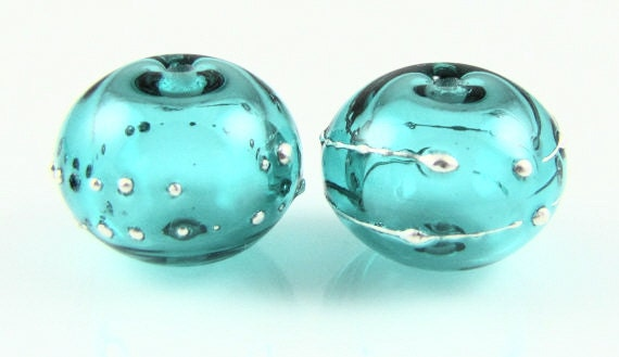 Light Teal Fine Silver Droplet Hollow Lampwork Glass Bead Pairs