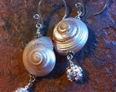 Seashell and Swawarovski Crystal Sterling Silver Earrings