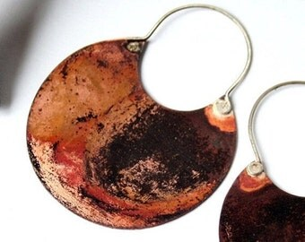 Copper Earrings -Hoop Earrings - Mixed Metal Earrings - Mixed Metal Jewelry