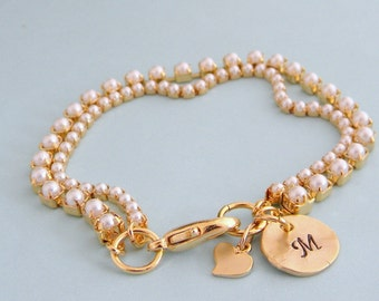 Initial Pearl Heart Charm Bracelet