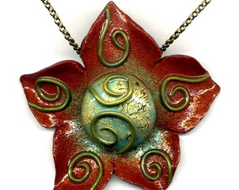 Flower pendant of polymer clay