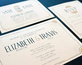 Art Deco, Twenties Inspired Wedding Invitation Collection