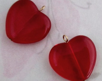 6 pcs. glass red heart charms 21x18mm - f2795