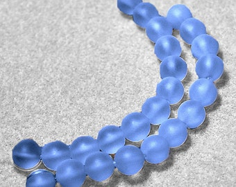Sky Blue Sea Glass Beads- recycled sea glass beads