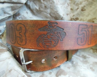USMC Leather Belt with EGA and MOS Numbers