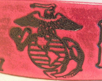 Marine Corps - Leather - Dog Collar - Red