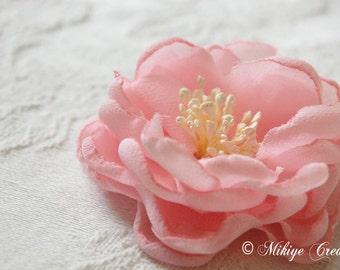 Wedding Hair Flower, Flower Girl Hair Flower, Bridal Hair Piece,  Bridesmaid Accessories, Pink Chiffon Hair Flower