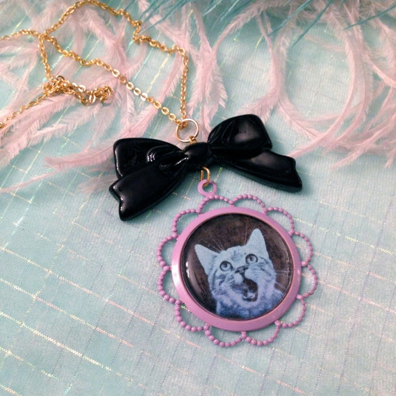 Blue Cat Cameo Necklace