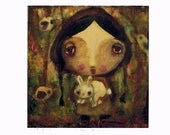 art print, 'Woodland Girl And Bunny', print from my original painting,open editon