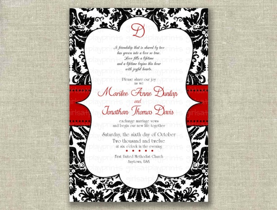 red and black wedding invitations items similar to modern wedding invitation invite black 6992