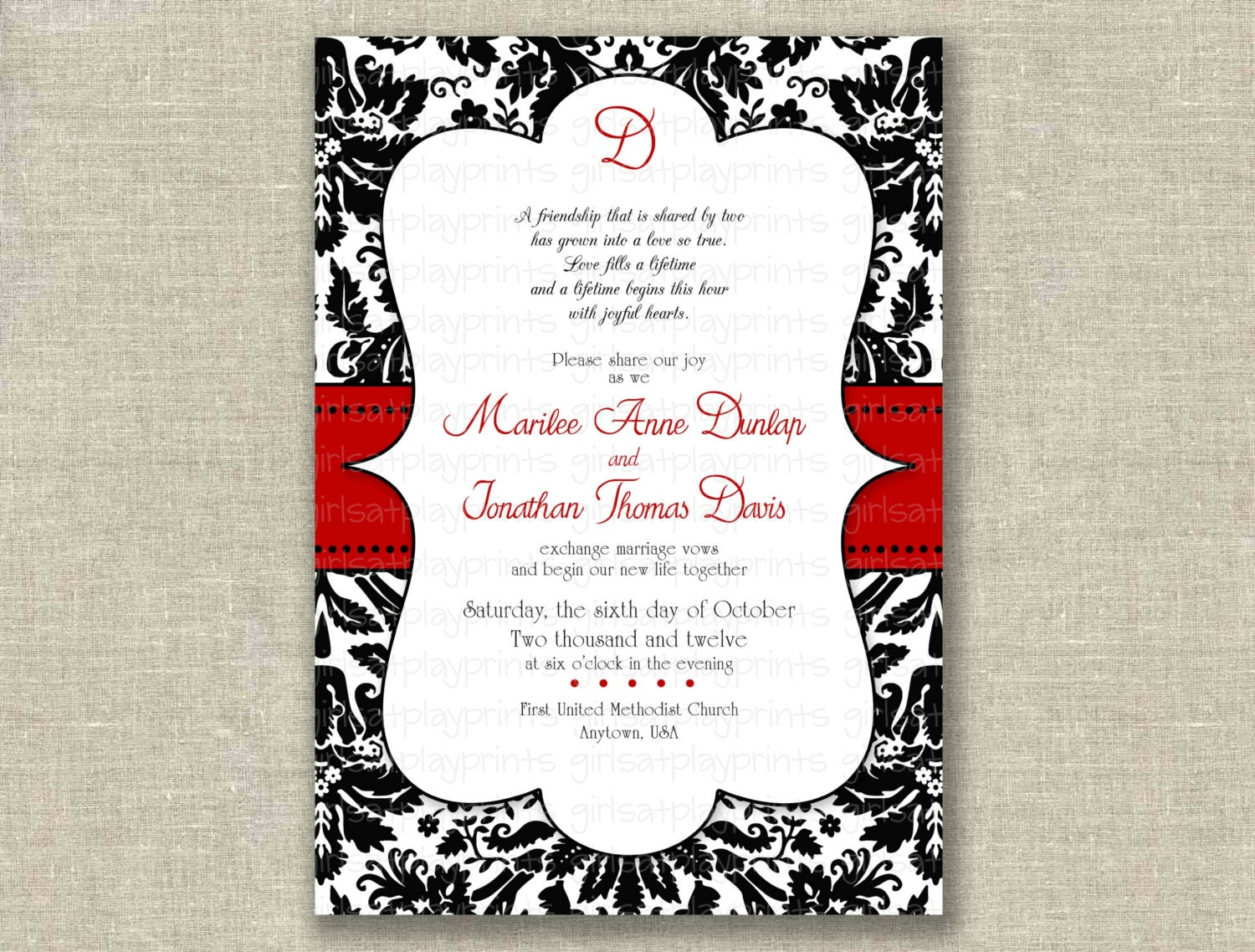 Damask wedding invitation templates free stopboris Image collections