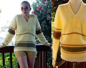 Turtle BAY 1970's 80's Vintage Cream White and Brown Striped Men's Sweater size Medium