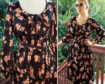 In BLOOM 1970's Floral Black and Tan Pink Polyester Dress with Bow and Matching Belt size Small