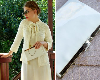 WHITE Patent 1970's 80's Vintage Handbag Clutch Purse with Gold Chain by ETRA