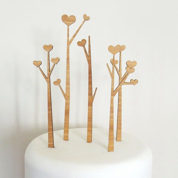 Heart Trees Cake Topper Set - Bamboo - Wedding Cake Topper - Rustic Wedding - Modern Wedding