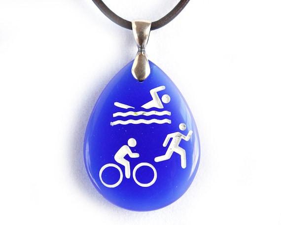 Triathlon Jewelry - Swim Bike Run Necklace - Etched Glass Pendant
