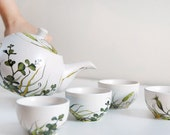 Ready to Ship - Hand Painted Ceramic Tea cups with Teapot -  Grass Fields Collection