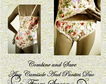 Camisole And Panties Set Handmade All Cotton Underwear Lingerie Gift Set