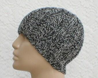 Black grey white tweed ribbed beanie hat, skull cap, toque, beanie hat, knit toque, ski snowboard skateboard, mens womens hat, chemo cap