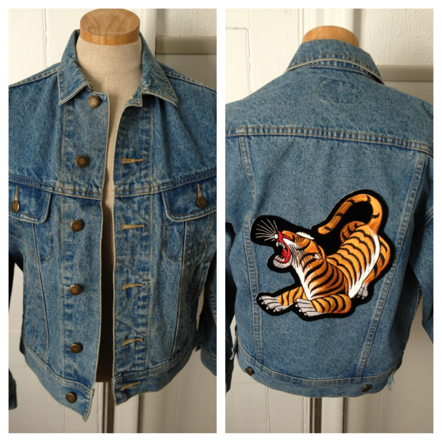 Vintage Denim Tiger Patch Jean Jacket