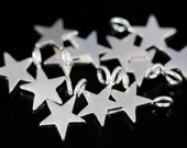 3KH-123 thai karen hill tribe handmade silver 10 mini die cut star shape charm 8.0 mm.