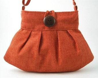 orange handbag, crossbody bag, small tote bag, sling bag, shoulder bag, orange purse, messenger bag with adjustable strap, made in USA