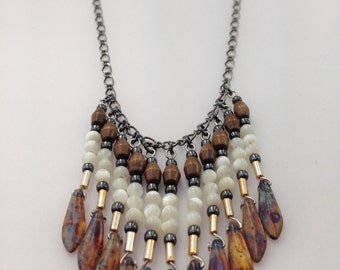 Quamby Designs: Mother of Pearl, Wood, Pyrite and Handblown Glass Teardrop Necklace