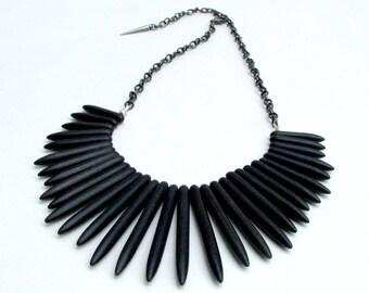 Carbon Black Howlite Spike Collar Necklace