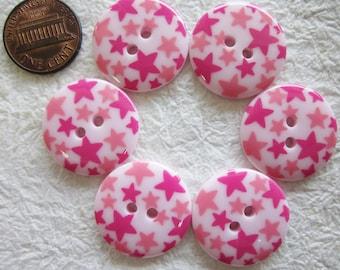 Star Pink Buttons 23 mm. - 15 pcs