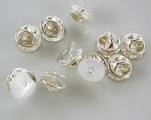 Ten Silver  Lapel Pins - Tie Tacks Pin And Clutch
