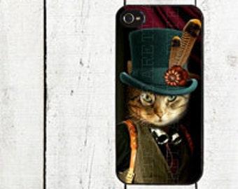 Steampunk Cat Phone Casefor iPhone 4 4s 5 5s 5c SE 6 6s 7  6 6s 7 Plu Galaxy s4 s5 s6 s7 Edge