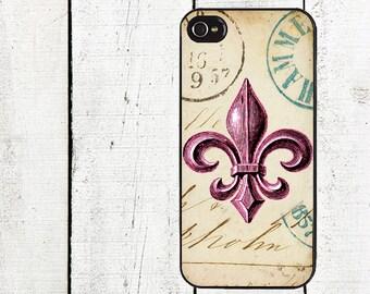 Vintage Pink Fleur de Lis Phone Case for  iPhone 4 4s 5 5s 5c SE 6 6s 7  6 6s 7 Plus Galaxy s4 s5 s6 s7 Edge