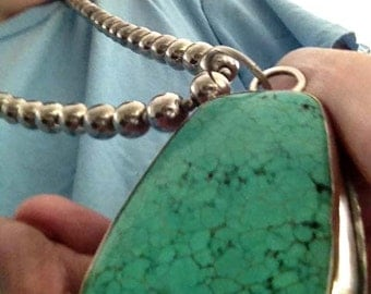 Large Turquoise on chain of Handmade Sterling beads