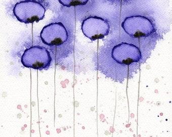 Watercolor Painting: Watercolor Flower Painting -- Art Print --  Hollow Inside -- Purple Flowers -- 8x10