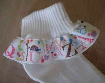 RUFFLE SOCKS for Pre School Elementary Alphabet and Animals