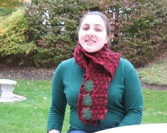 Christmas Holly Scarf - Crochet Pattern