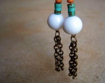 Chain Tassel Earrings White Turquoise & Tan Beads