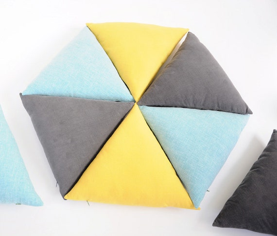 Equilateral Triangle Pillow - SUNNY YELLOW - Removable / Washable Cover - Geometric Decor