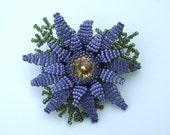 Purple Aster Flower Beadwork Brooch